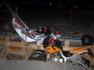 Motorka po nehodě.
