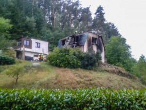 Požár domu v Kacanovech.