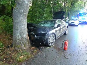 Auto po nárazu do stromu.
